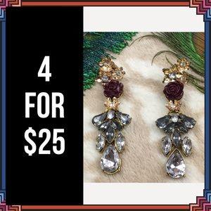 Jewelry - 4 FOR $25 🎁🎄🍾🥂 Purple Rose Earrings